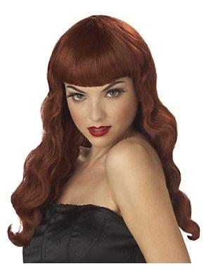 Pin Up Girl Burgundy Wig Adult
