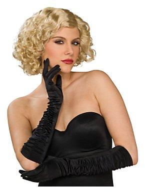 Black Satin Wrinkled Lycra Elbow Gloves