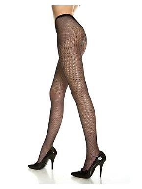 Black Nylon Fishnet Stockings Adult Queen Size