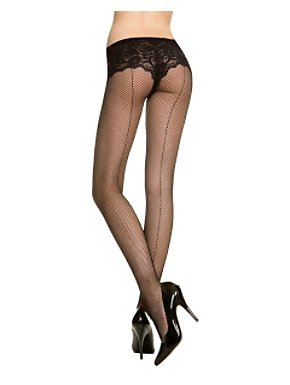 Black Seamed Fishnet Pantyhose Queen Size