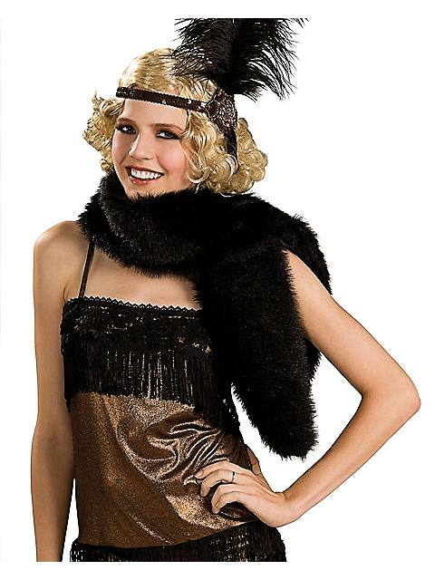 Black Faux Fur Stole $14.99 AT vintagedancer.com