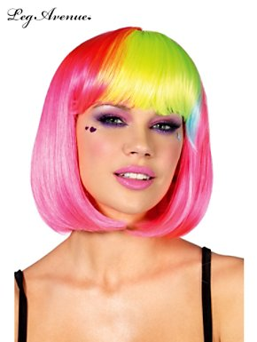 Neon Pink Pop Rainbow Bang Bob Wig