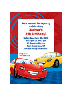 Personalized Cars party invitations