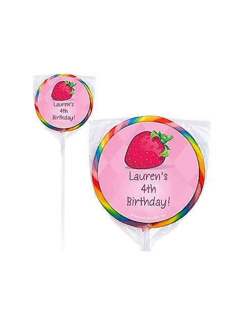 personalized strawberry lollipop
