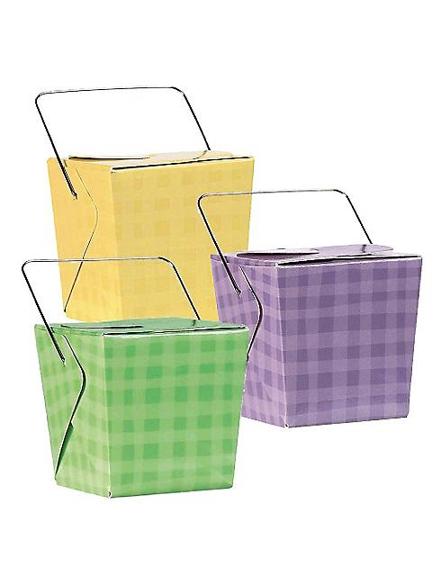 Plaid Multi Color Favor Pails (12 Count)