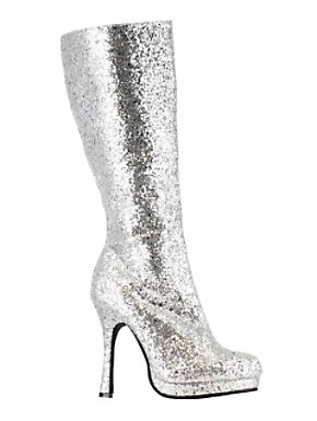 Adult Silver Glitter Knee High Boot