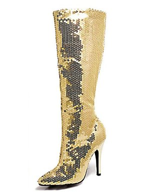 Gold Sequin Women's Knee High Boot