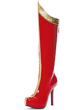 Women's Red & Gold Super Hero High Heeled Boots
