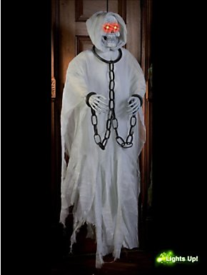 """60"""" White Hanging Reaper with Red LED Light-Up Eyes"""