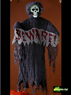 """Light-Up 36"""" Hanging Reaper with Beware Sign"""