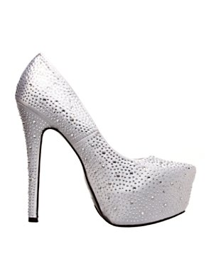 Adult Silver Platform Pump with Rhinestones
