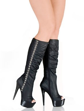 Adult Black Open Toe Boots