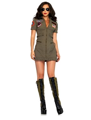 Sexy Top Gun Flight Dress Womens Costume