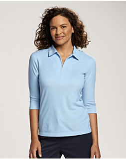Blaine Oxford 3/4 Sleeve Zip Polo