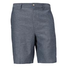 Chevron Slub Linen Flat Front Short