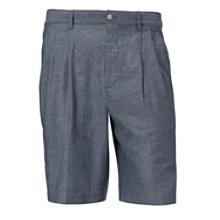 Chevron Slub Linen Pleated Short