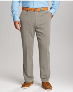 Twill Microfiber Flat Front Pant