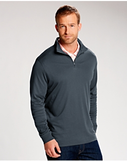 B&T  L/S Belfair Pima Half-Zip