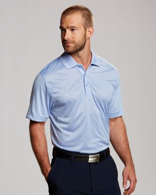 CB DryTec Approach Polo Sporty style dominates in our moisture-wicking CB DryTec Approach Polo. This fashionable heavy-hitter features a tonal geometric design, silver piping inside the collar, a three-button placket, and side vents. Machine wash cold, delicate. Tumble dry low, delicate.