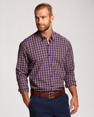 L/S Moore Plaid Get in the mood for fall with the rich colors of our Moore Plaid, which features a poplin weave, button-down collar, chambray piping at the inside collar stand, chest patch pockets, and button cuffs. 100% cotton. Machine wash cold, delicate. Tumble dry low, delicate.