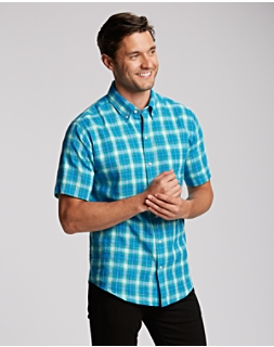 B&T S/S Aqua Plaid