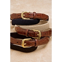 Brighton Mens 1 1/8 Elastic Cord Croco Tab Belt