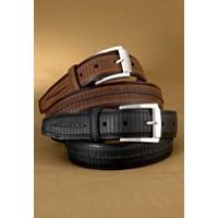 Brighton Balboa Two-Tone Leather Belt Cntr Stitch