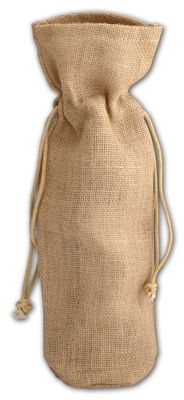 Tan Natural Jute Wine Bags, 6 x 3 1/2 x 15'