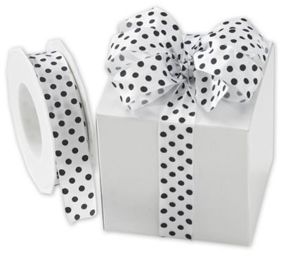 Black Polka Dots on White Wired Ribbon, 1' x 22 Yds