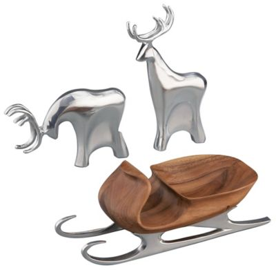 Holiday Sleigh with Reindeer - 3 Piece Set