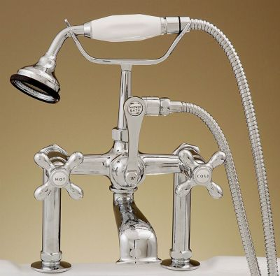 British Telephone Leg Tub Faucet with Porcelain Hand Held Shower