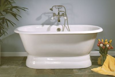 Peninsula 5' Cast Iron Dual Tub on Pedestal without Faucet Holes