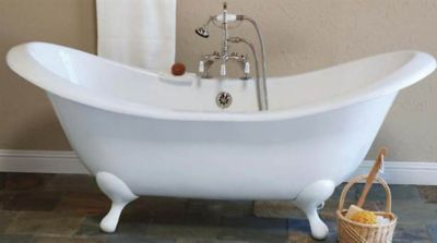 Moon 6' Cast Iron Peg Leg Double-Ended Slipper Tub without Faucet Holes