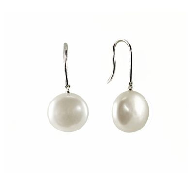 White Coin Freshwater Pearl Earrings