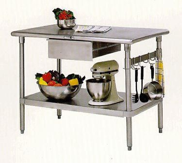 Cucina Americana Forte Table with Drawer - Stainless Steel