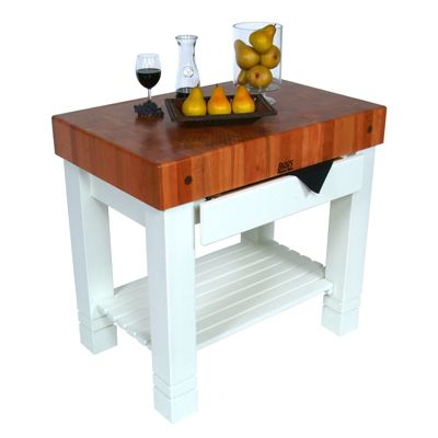 American Heritage Homestead Block Cherry Top Table with Alabaster Base