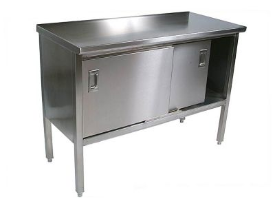 Cucina Americana Marcella Stainless Steel Enclosed Base Cabinet Table - Polish Satin