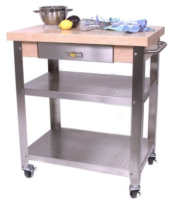 Cucina Americana Elegante Stainless Steel Cart - Maple