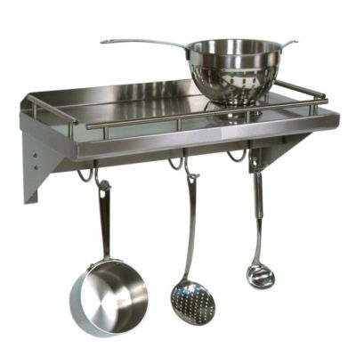 Cucina Americana Mensola Grande Shelf with Pot Rack Bar & Hooks - Stainless Steel