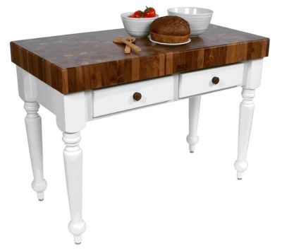 American Heritage Rustica Walnut Top Table with Alabaster Base