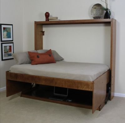 HiddenBed™ Birch Full Bed & Desk