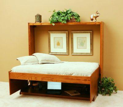 HiddenBed™ Oak Full Bed & Desk