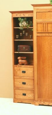 Mission Oak 3-Drawer Pier