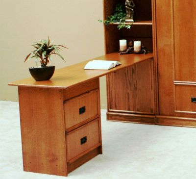 Transitional Oak Peninsula Desk