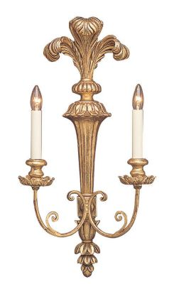 Carved Wood 2-Light Sconce with Plume Motif - Antique Gold Leaf