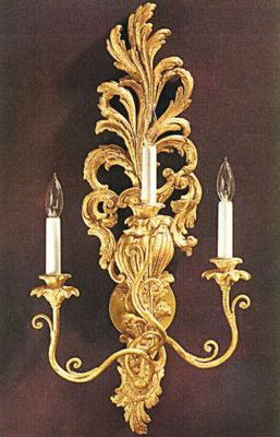Louis XV Style Carved Wood 3-Light Sconce - Antique Gold Leaf