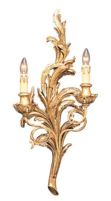 18th Century French Style Carved Wood 2-Light Sconce - Antique Gold Leaf