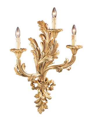 Carved Wood 3-Light Sconce - Antique Gold Leaf