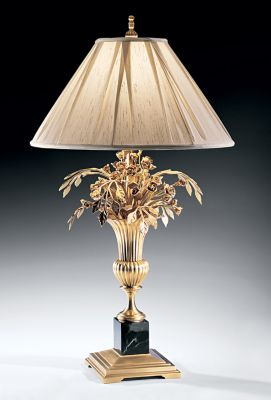 Antique Solid Brass Lamp with Floral Motif