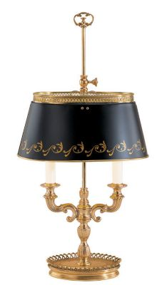 Antiqued Brass 2-Light Lamp with Adjustable Oval Shade